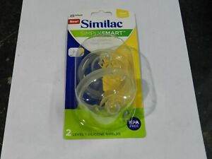 NEW 2 Pack Similac Simply Smart Level 1 Silicone Nipples Slow Flow 0m+