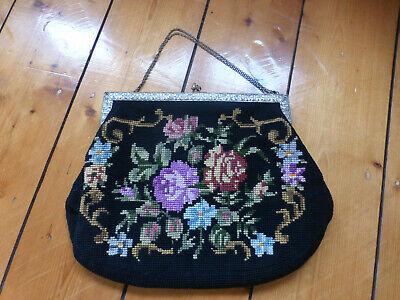 1950s Handbags, Purses, and Evening Bag Styles Vintage black needlepoint tapestry floral 1950s 1940s bag feature frame clean $34.36 AT vintagedancer.com
