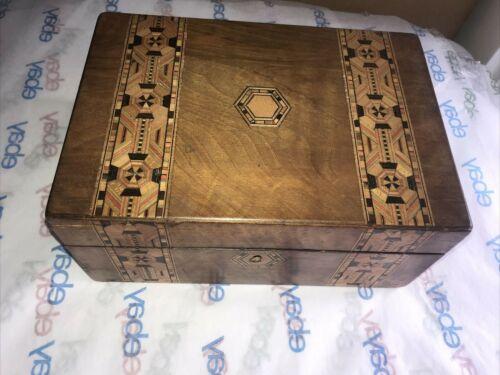 WONDERFUL VICTORIAN TUNBRIDGE WARE SEWING BOX! COLORFUL MARQUETRY,WALNUT?