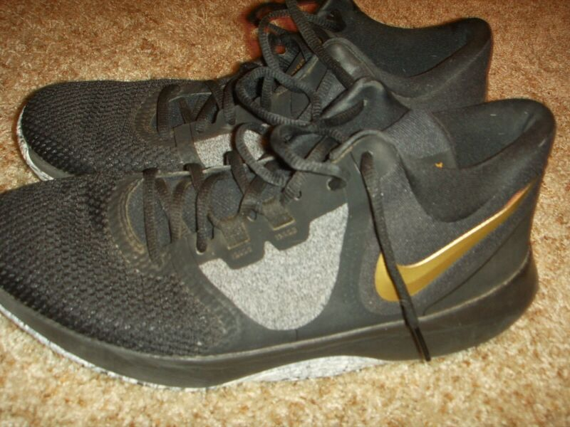 e41f0e9bebf Nike Air Precision II 2 Black Gold Basketball Shoes AA7069-090 Mens Size 11