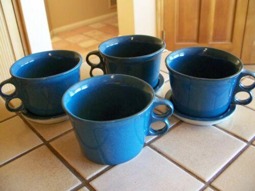 BENNINGTON POTTERS 7 pc SOUP CROCKS MUGS TRIGGER CUP & PLATES TEAL PEACOCK BLUE
