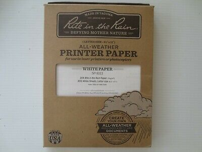 Rite In The Rain 8511 Waterproof Printer Paper 8-12x11 200 Sheets