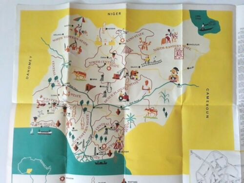 Vintage Map Of Nigeria With 12 States 1975 Major General Yakubu Gowon