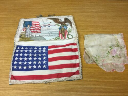 1917 WWI US Army Homefront 48 Star Flag Sweetheart Keepsake Handkercheif Holder