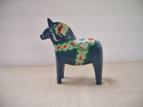 "Swedish Painted Wood Dala Horse Blue 5 1/2"" Tall Sticker Rolf Öst"