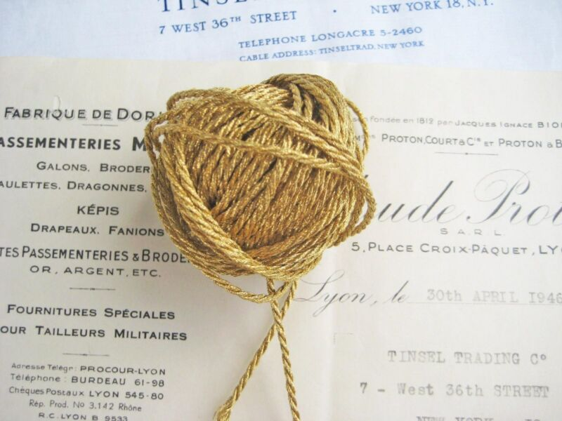"4 yds Vintage Antique French Gold Metallic Cord Trim 1/16"""