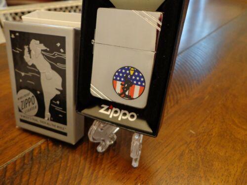 AMERICAN FLAG REVELER DRUNK 1935 OUTSIDE HINGE ZIPPO LIGHTER MINT IN BOX