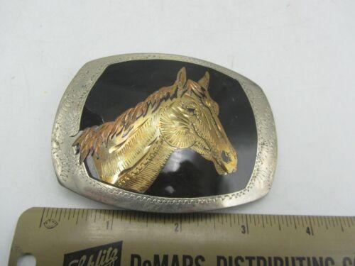 Vintage Handcrafted in USA Enamel Horse Farm Animal Rancher Belt Buckle