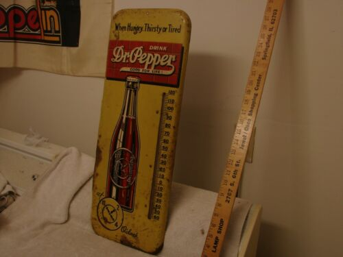 """ANTIQUE DR. PEPPER SODA POP METAL THERMOMETER 25""""  GOOD FOR LIFE WHEN HUNGRY"""