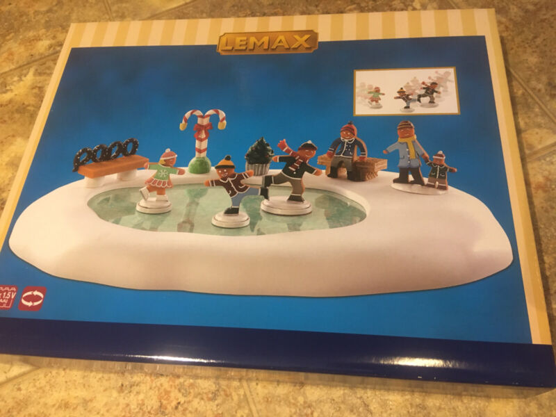 Lemax GINGERBREAD SKATING POND-animated Holiday Village Accent-9 Piece Set