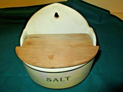 Antique Czechoslovakian pottery, salt glazed salt box