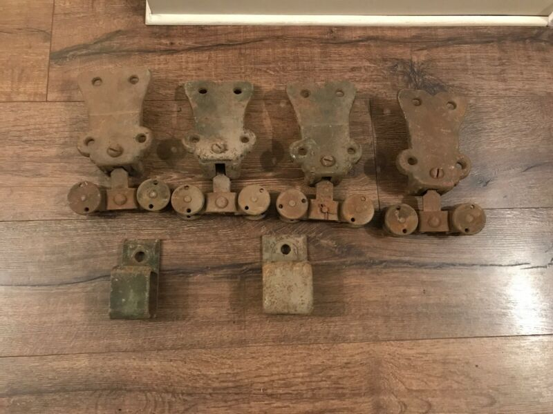 4 Vintage Antique Pocket Door Barn Door Rollers Cast Iron Hardware Industrial