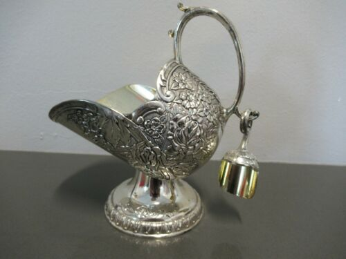Vintage Sugar Scuttle w/ Scoop Silver Plate on Copper Server Caddy