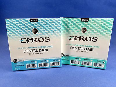 Dental Natural Rubber Dam Green Blue Set Heavy 5 X 5 Sheet Kit 2 Box Ehros