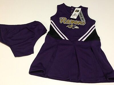 H6 NFL Toddler ravens Girl's Cheerleader Dress 2-Piece Jumper Cheer Outfit 4t - Raven Outfit