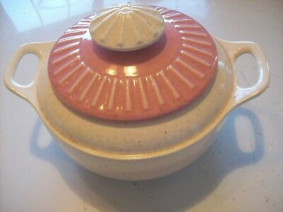 Vtg USA A301 Pink Lt Ivory Covered Casserole Serving Dish Bowl Stoneware Pottery