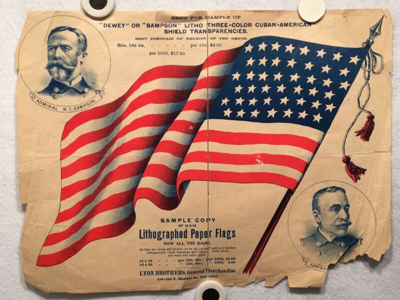 "1900 Lithographed Paper Flag Advertisement 45 Stars ""Dewey or Sampson"" Poster"