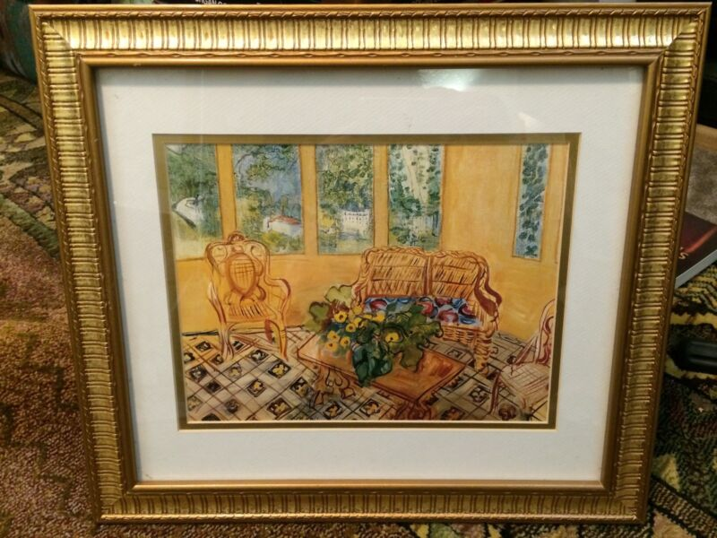 Framed Print 16 1/2 x 14 1/2, Gold Colored Frame, Good Condition