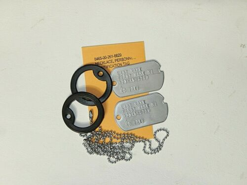 Notched Stainless Steel Dog Tags, Custom Embossed With Silencers & Chains  HLNR