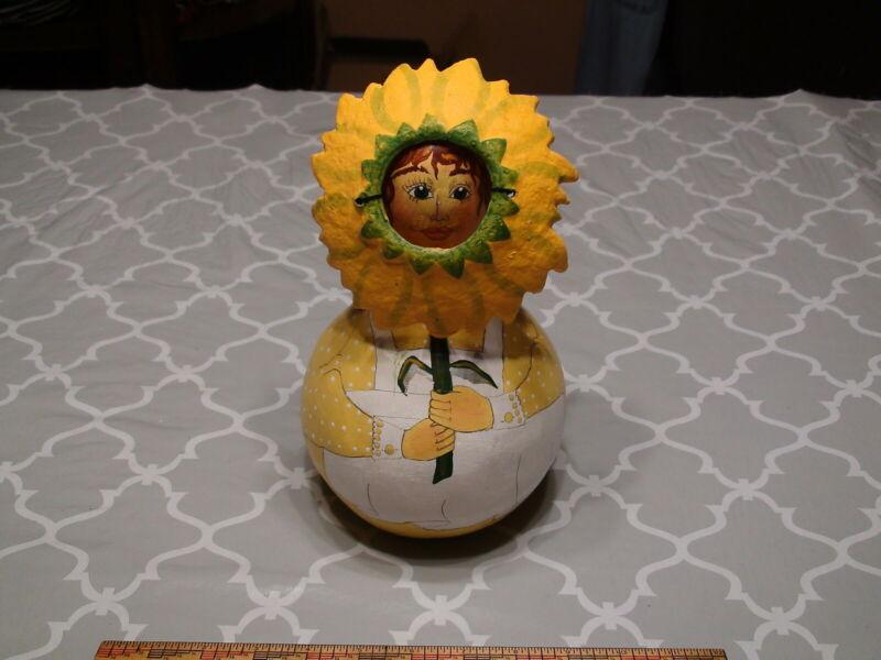 Susan Van Handel American Folk Art Painted Gourd Smrekar Flower