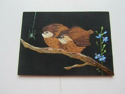 ACEO – Baby Wrens and Forget me Not – Original Hand Embroidery, Alexandra Lobban