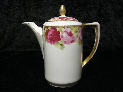 Porzellan Kanne / Kaffeekanne Beyer & Bock Tausendschön Rosendekor - um 1930