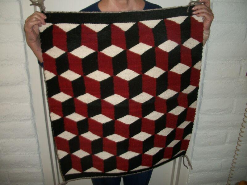 Navajo Rug Tumbling Blocks 3 Dimension Optical Illusion c. 1975