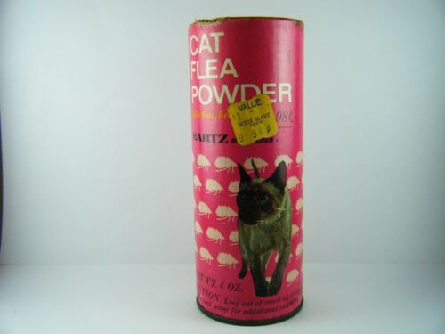 HARTZ Medicated FLEA POWDER Paper Label CAN DOG CAT VINTAGE PET Store 1970's