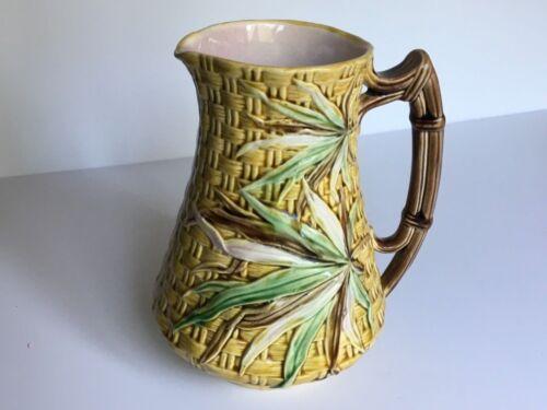 English Majolica Pitcher Bamboo Floral Charles Faudree