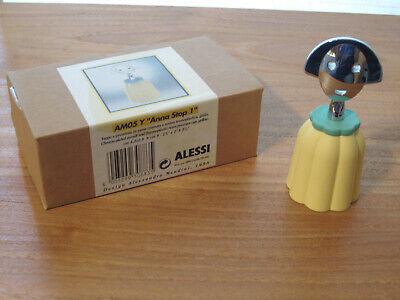 ALESSI *NEW* Bouchon résine Anna Stop jaune et chrome, 4,2x2,8cm h.10cm AM05Y