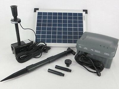 10 Watt Solar Pumpe Gartenteich Teich Tauch Springbrunnen Akku Batterie LED NEU