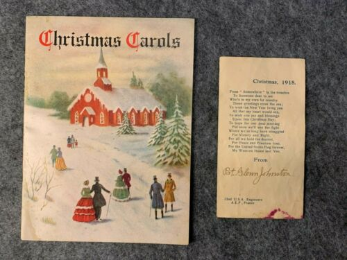 1918 Christmas Carols Booklet and Poem Card From US Soldier