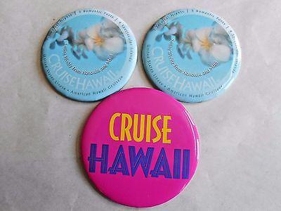 3 Vintage United States Lines American Hawaii Cruises Advertising Pinbacks