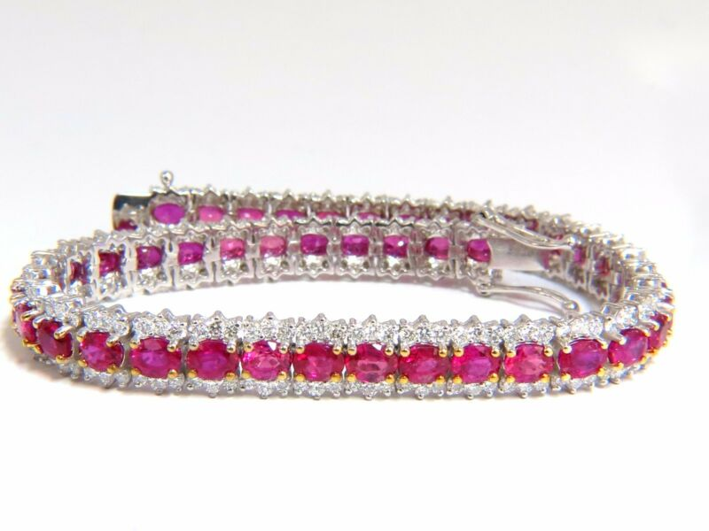 13.81ct Bright Vivid Red Natural Ruby Tennis Bracelet 14kt Three Row+
