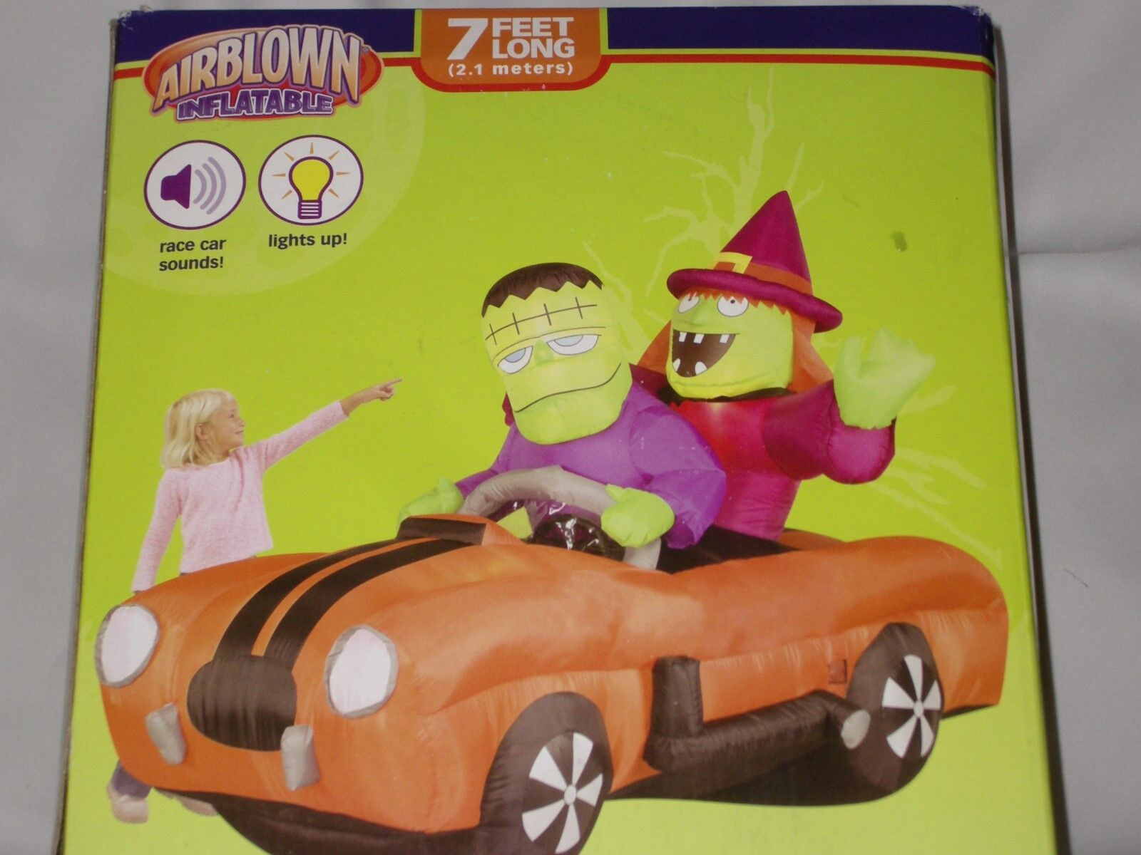 Rare 7' Lighted Haunted Halloween Hotrod Car With Sound Airblown Inflatable