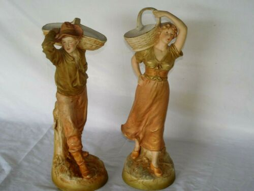 PAIR OF ANTIQUE ROYAL DUX BOHEMIA PORCELAIN FIGURINES STATUE BOY & GIRL W/BASKET