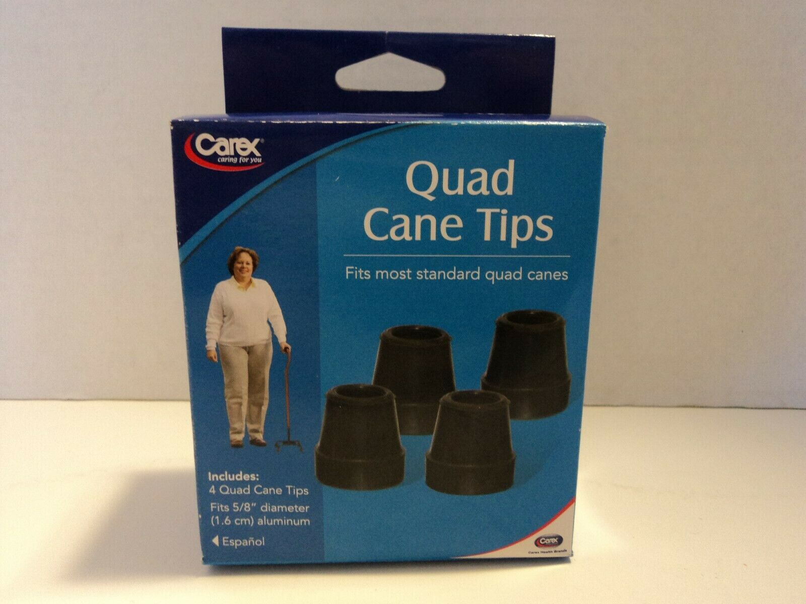 """Carex Quad Cane Tips, Black, 5/8"""", 0.02 Pound"""