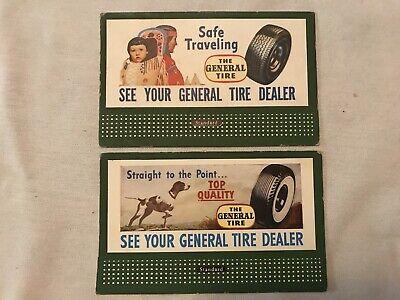 2 Different General Tires Vintage Cardboard Railroad Billboards