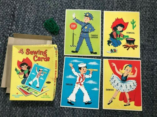 Vintage Whitman Sewing Cards, 4, 1961, Dancer, Sailor,Cowgirl, Traffic Officer