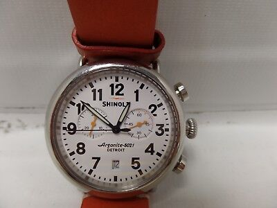 "Genuine Mens Shinola ""The Runwell"" Quartz Chronograph Stainless Steel 41mm Watch"