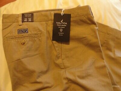 NAUTICA TRUE KHAKI MEN'S FLAT FRONT TRUE KHAKI CHINO PANTS  ( 40 x 30 )  NWT