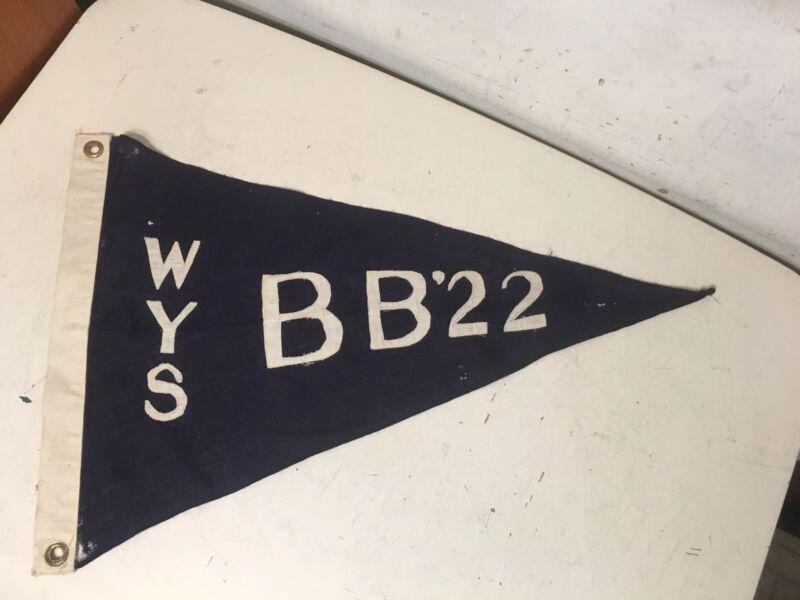 Antique Westhampton Yacht Squadron Burgee Pennant Long Island WYS BB 22 1922? 2