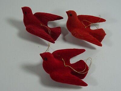Felt Bird (Vintage Felt Red Bird Ornaments Set Of 3 )