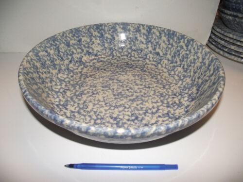 "13"" PASTA SERVING BOWL 3"" deep  Gerald HENN BLUE Spongeware Pottery"