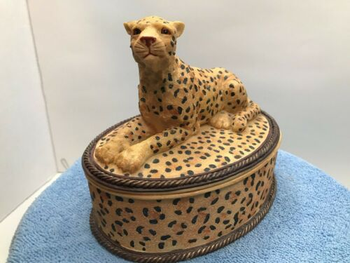 Cheetah Laying Down On Top Of A Trinket Box