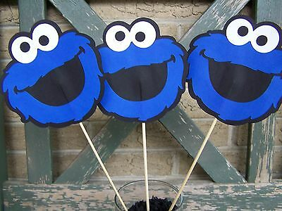 Cookie Monster Sesame Street birthday decorations centerpiece set of 3 faces  - Cookie Monster Birthday Decorations