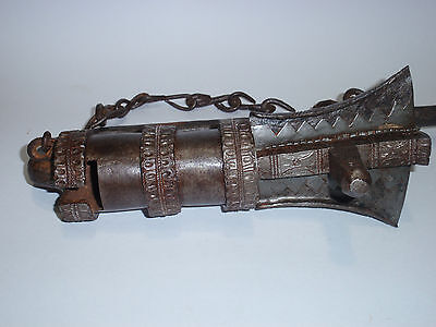 Highly decorated Museum Quality Antique Tibetan Temple Iron Stupa Lock  13 1/2""