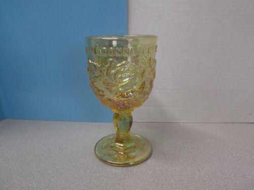 "Madonna INN Glass Goblet Amber Yellow 6.5"" Tall"
