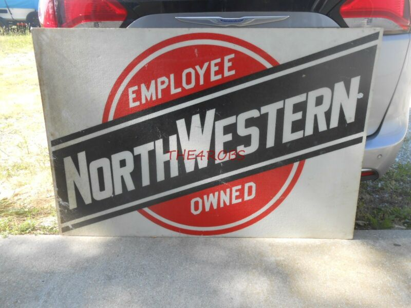 Vintage Chicago & North Western Railroad Fiberglass Sign 54X36 Inches