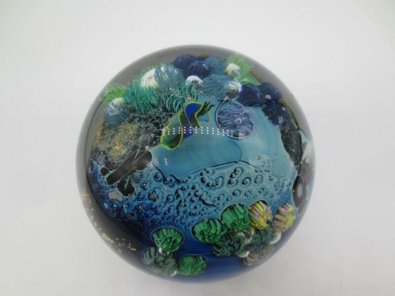 "1996 SIGNED JOSH SIMPSON 4-3 ART GLASS INHABITED PLANET 2 3/4"" PAPERWEIGHT"